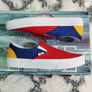 Vans men yacht club red blue slip on